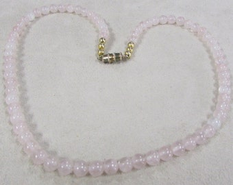 6 mm Rose Quartz Bead Necklace 17 3/4""