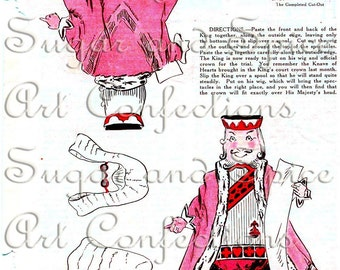 Alice in Wonderland King of Hearts Vintage Paper Toy Digital Collage Reproduction Art Doll Paper Doll