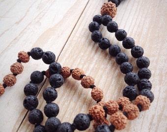 Rudraksha Mala, Mala Necklace, Lava Stone Mala Beads, Mens Mala Beads, Mala Bead Necklace, Buddhist Jewelry, Prayer Beads Long Boho Necklace