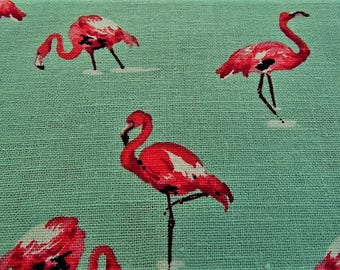 Fabric cotton linen and viscose with a pink Flamingo pattern