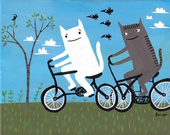 Cats on Bikes Print - White Cat and Grey Tiger (Black Cat also available) Folk Art