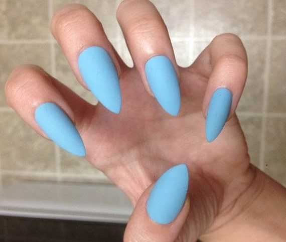 Sky Blue Stiletto False Nails MATTE or GLOSSY Set of 20