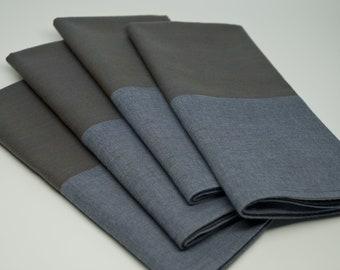 Dinner Napkins   Bordered Edge   Colorblock Napkins   Cloth Napkins   Cotton Napkins   Grey/Blue/Chambray Napkins   Set of 4   MOSS & SURF