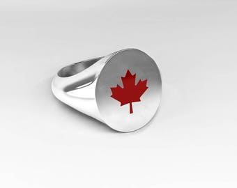 Canada-ring with red maple leaf, Meaple leaf, Signet Ring, white gold, 750 white gold ring