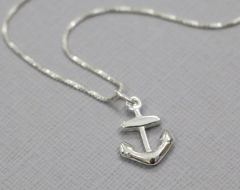 Sterling Silver Anchor Necklace, Sterling Silver Necklace, Marine Necklace, Silver Anchor Necklace, Personalized Necklace, Gift for Her
