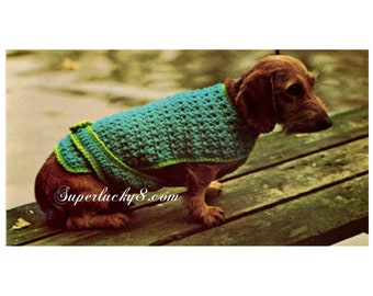 Vintage dog jacket crochet pattern in PDF instant download version , PDF downloadable