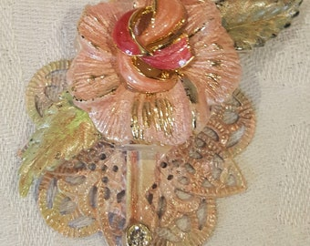 Altered Key - Pastel Pink Flower and Filigree Embellished pendant / brooch