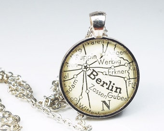 Berlin Map Necklace- Berlin Necklace, Berlin Pendant, Berlin Map Pendant, from a 1943 Vintage Atlas, Germany Map Necklace
