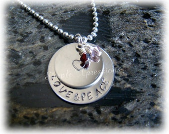 Mother Necklace - Hand Stamped with Names and Birthstones