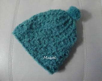 Turquoise girl hat, knit hand made, soft and warm, tassel