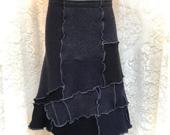 Upcycled Sweater Skirt, Wool Patchwork Skirt, Recycled Clothing, Blue, Small-Medium, #SK419