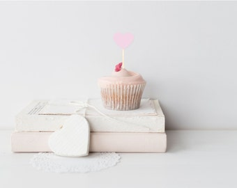 Light Pink Heart Cupcake Toppers