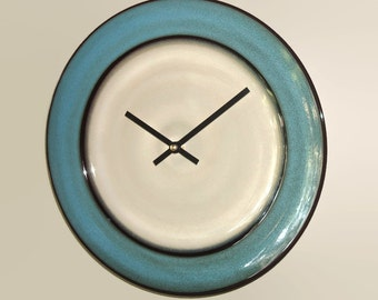 11 Inch SILENT Tan and Teal Wall Clock, Stoneware Plate Clock, Kitchen Clock, Unique Wall Clock, Kitchen Decor - 2270