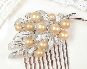 OoaK Champagne Pearl Bridal Hair Comb, Vintage Small Brushed Silver Leaf Floral Spray Wedding Hair Accessory Rustic Country Chic Hairpiece