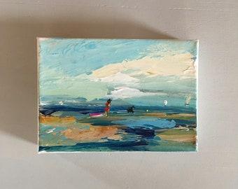 """Malerei - Original - strukturierte Farbe - Strand-Kunst - Hund und Mädchen am Strand - 5 x 7 dehnte Leinwand mit dicken Seiten 1-1/2"""" weiß lackiert"""