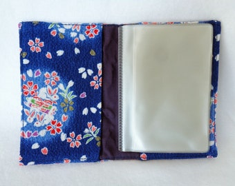RJ45 :Busines card case,Visit/Credit cards holder in japanese chirimen fabric case,can keep 12 cards,made in Japan