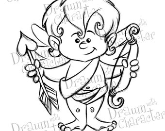 Valentine's Cupid Digital Stamp Art/ KopyKake Image-   SP22-CUPID2
