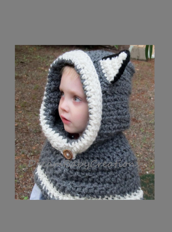 Wolf/ Husky/ Cat Hoodie / Scoodie Crochet Animal Hooded Cowl