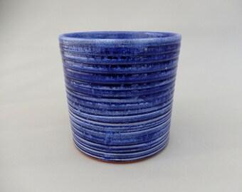 Pottery Utensil Holder - Royal Blue Handmade Ceramic Kitchen Caddy