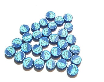 20 Fimo Polymer Clay Coin Round Beads Blue Dolphin Fish Beads