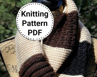 Knitting Pattern   Infinity Scarf Womens Cowl Scarf   Instant Download PDF   Knit Scarf   Easy Beginner Knit Pattern   Knitting Pattern