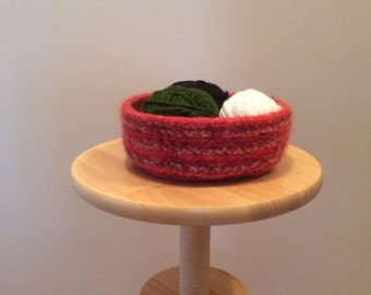 Knitted Felted Bowls, Hand Knit Bowls, Red Bowl, Decorative Bowl, Felted Bowl, Home Decor, Teacher Gift, Housewarming, Bridal Shower, Bowl