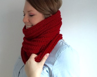 Cowl, Womens Scarf, Mens Scarf, Knit Scarf, Knit Cowl Scarf, Garnet Scarf, Women's Scarf in Cranberry Red - SONJA COWL