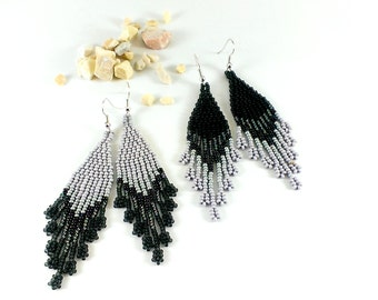 Long grey earrings gift|for|wife Boho silver bead earrings Shades of grey jewelry Gray dangle earrings Modern beaded earrings with fringe
