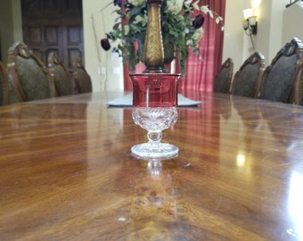 Tiffin Kings Crown Thumbprint Ruby Red Flashed Vintage MidCentury Juice Goblet