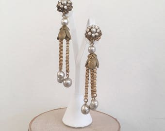Vintage Mid-Century Gold Tone and Faux Baroque Pearl Dangle Earrings
