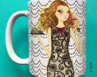 Mena Macaron, Coffee Mug, Fashion illustration, Bella Pilar, Fashion mug