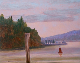 """Small Landscape Oil Painting """"West Point Seattle"""" on metallic copper in Birch Branch Twig Stand to display on desk, shelf or cabinet"""