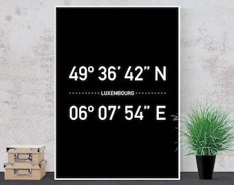 Luxembourg Coordinates, Typography Travel Posters, Nordic Design, Modern Wall Art, Printable Art, City Prints, Minimal Decor, Black & White