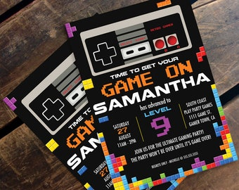 Video Game Birthday Party Invitation -NES/Tetris Inspired, Nintendo | Editable Text At Home - INSTANT Download D.I.Y. Printable PDF Kit