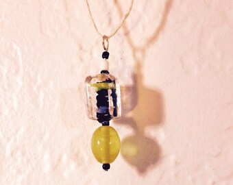 Yellow, Black and Clear Glass Lampwork Bead Pendant Necklace