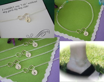 8 Bridesmaid Infinity Personalized Anklets, Infinity Friendship Jewelry, Silver Initial Anklet, Bridesmaid Gift, Thank You Card