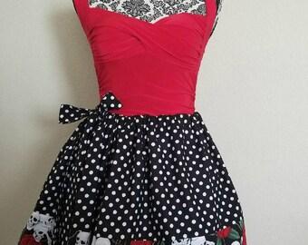 Free Size Skirt, Drawstring Skirt, Skirt, Pinup inspired, Skulls, Skull and Roses, Polka Dots, Roses, Fun Fashion