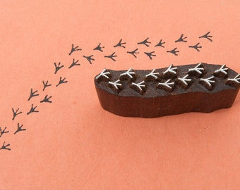 Bird Footprints, hand crafted wooden stamp