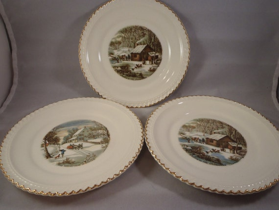 Vintage 3 1950s Harkerware Currier and Ives Plates