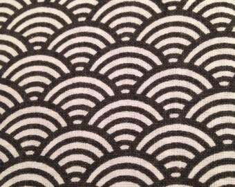 50x40 cm- Japanese fabric pattern Black Waves seigaiha 100% cotton
