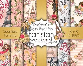 Planner Digital Paper, Paris Digital Paper, Fashion Digital Paper, Scrapbooking  Paper, Floral Patterns, Girly Paper, Parisian Girl Paper