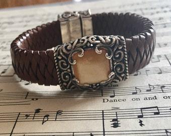 Vintage Carolyn Pollack Relios Sterling Braided Leather Bracelet