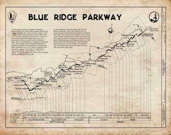 Blue Ridge Mountains Highway Map Print Poster Grunge