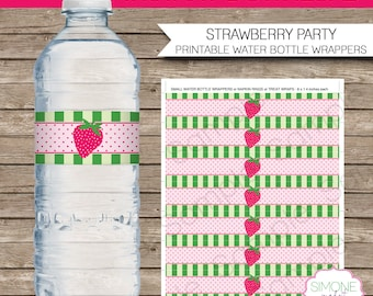 Strawberry Party Water Bottle Labels Or Wrappers