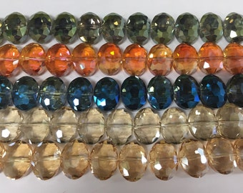 12x16mm oval crystal beads, faceted, drilled through short side, 22beads