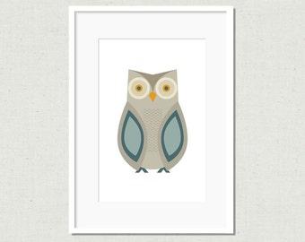Modern owl print, owl illustration, modern nursery art, owl decor, childrens art print, kids room decor, colorful nursery art, grey owl