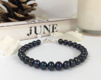Black Pearl Bracelet, Sterling Silver, Gift, June Birthstone, Gift for Her, Gift for Him, Beaded Bracelet, Boyfriend Gift, Valentines Gift
