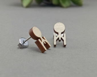 Star Trek Enterprise Post Earrings - Laser Engraved Wood Earrings - Hypoallergenic Titanium Post Earring Pair