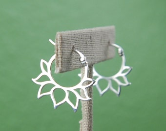 Lotus petal hoop earrings in sterling silver, silver hoops, latching, lotus shape, zen, silver hoop earrings, mother's day