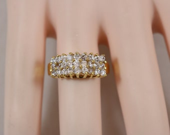 Gold Tone Rhinestone Cluster Band Ring Size 8